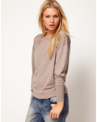 ASOS Collection Asos Jumper with Lace Shoulder Inserts - Lyst