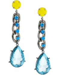 Asos Curb Chain Gem Drop Earrings blue - Lyst