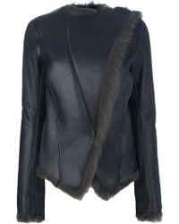 Balenciaga Asymmetric Shearling Jacket blue - Lyst