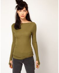 Cheap Monday Long Sleeve Top with Slash Neck and Thumb Holes - Lyst