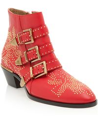 Chloé Studs-Detail Buckle Ankle Boots - Lyst