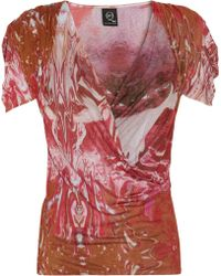McQ by Alexander McQueen Printed Jersey Wrap-Effect Top - Lyst
