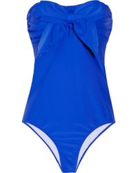 Miu Miu Bow Wmbellished Bandeau Swimsuit - Lyst