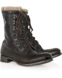 NDC - Leather and Shearling Ankle Boots - Lyst