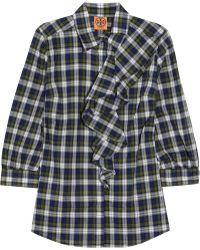 Tory Burch Rosie Ruffletrimmed Checked Cotton Shirt - Lyst