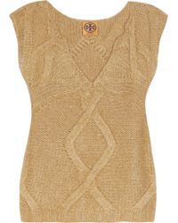 Tory Burch Cableknit Vest - Lyst