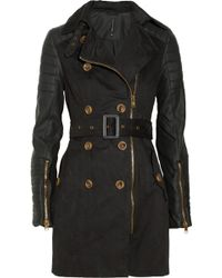 W118 by Walter Baker Keanu Faux Leathersleeved Cottontwill Trench Coat black - Lyst