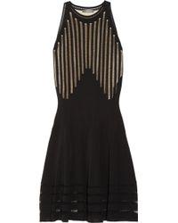 Alexander McQueen Pointellepaneled Fineknit Dress - Lyst
