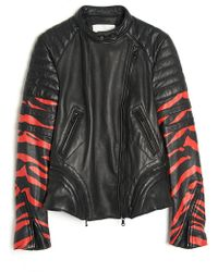 3.1 Phillip Lim Tiger Print Leather Jacket - Lyst