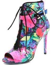 B Brian Atwood - Lindford Satin Laceup Ankle Boots - Lyst