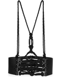Prabal Gurung Leather and Cord Harnessstyle Belt - Black