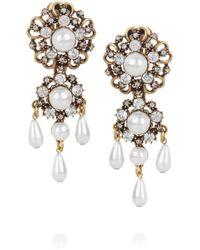 Oscar de la Renta 24karat Gold-Plated and Faux Pearl Clip Earrings - Lyst