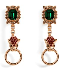 Mawi | Rose Goldplated Panther Head Amp Crystal Earrings | Lyst