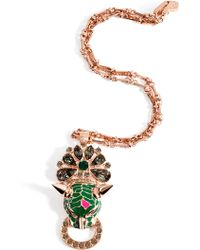 Mawi - Rose Goldplated Panther Head Amp Crystal Pendant - Lyst