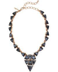 Oscar de la Renta Triangle Motif Swarovski Necklace - Lyst