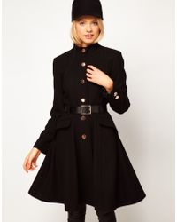 ASOS Collection Asos Belted Button Front Coat with Full Skirt black - Lyst