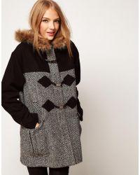 ASOS Collection Asos Mixed Fabric Duffle Coat gray - Lyst