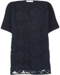 Borne by Elise Berger Rosa Embodiered Lace and Mesh Tshirt - Blue