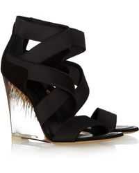Donna Karan | Elasticated Strappy Perspex Wedge Sandals | Lyst
