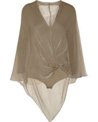 Donna Karan New York Stretch Jersey and Silk Chiffon Bodysuit - Lyst