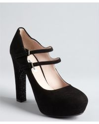 Miu Miu Black Suede And Glitter Sole Double Strap Mary Janes - Lyst