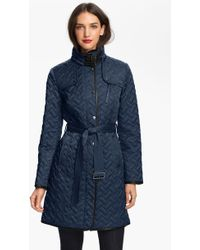 Cole Haan Leather Trim Quilted Coat - Lyst
