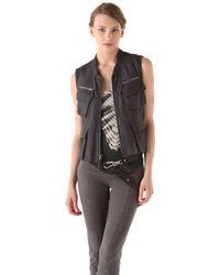 Donna Karan - Zip Leather Vest - Lyst