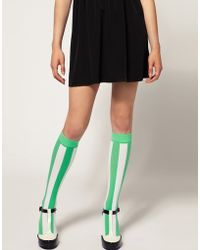 House of Holland | For Pretty Polly Exclusive To Asos Green Stripe Socks | Lyst