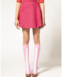 House of Holland - For Pretty Polly Exclusive To Asos Pink Stripe Socks - Lyst