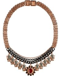 Mawi - Rose Goldplated Panther Head Amp Gem Necklace - Lyst