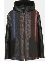 Topshop Faux Leather Trim Baja Coat multicolor - Lyst