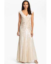 Alberto Makali Embellished Vback Silk Chiffon Gown - Lyst