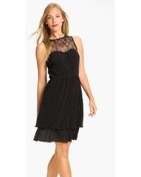 Jessica Simpson Lace Yoke Tiered Chiffon Dress - Lyst