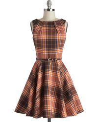 ModCloth Luck Be A Lady Dress in Autumn Plaid brown - Lyst