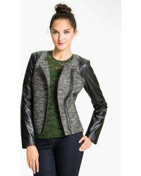 Trouvé Faux Leather Sleeve Tweed Jacket - Lyst
