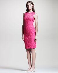 Valentino Bow Back Lace Sheath Dress  - Lyst