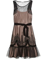 Alice By Temperley Emerald Embroidered Tulle Dress - Brown