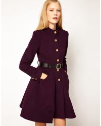 ASOS Collection Asos Belted Button Front Coat with Full Skirt - Lyst