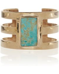 Pamela Love Cutout Turquoise and Bronze Cuff gold - Lyst
