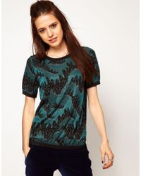 ASOS Collection Asos Top in Swirl Print with Contrast Band - Lyst
