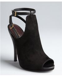 Gucci Black Leather and Suede Slingback Ankle Strap Cutout Peep Toe Pumps - Lyst
