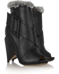 Nicholas Kirkwood - Rabbittrimmed Leather Peeptoe Boots - Lyst