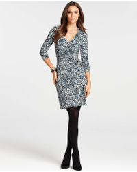 fa774ee961 Ann Taylor - Tweed Print 34 Sleeve Wrap Dress - Lyst