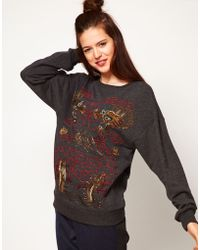 ASOS Collection Asos Sweatshirt with Empire Dragon Embroidery gray - Lyst