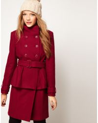ASOS Collection Asos Peplum Coat with Belt red - Lyst