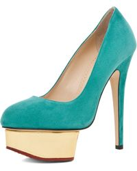 Charlotte Olympia Dolly Signature Court Island Platform in Green - Lyst