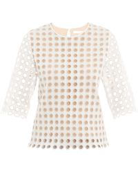 Chloé Broderie Anglaise Blouse white - Lyst