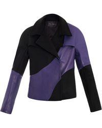 9acc7cd6cc0 Pedro Lourenco - Felt and Leather Boxy Revers Jacket - Lyst
