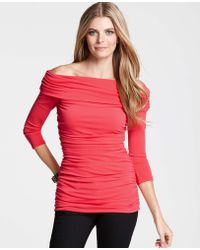 Ann Taylor Ruched Off The Shoulder Top - Lyst