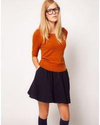 NW3 by Hobbs Nw3 Angora Knitted Sweater with Peplum Detail - Orange
